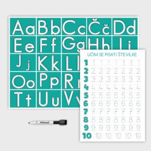Komplet abecede in števil – turkizen
