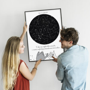 Couple hanging a photo frame mockup on a white wall