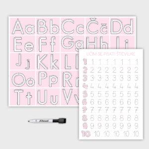 Komplet abecede in števil – roza