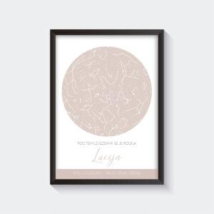 Pastelno roza zvezdna karta